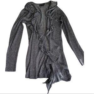 Karen Kane ruffled Cardigan sparkle Gray metallic